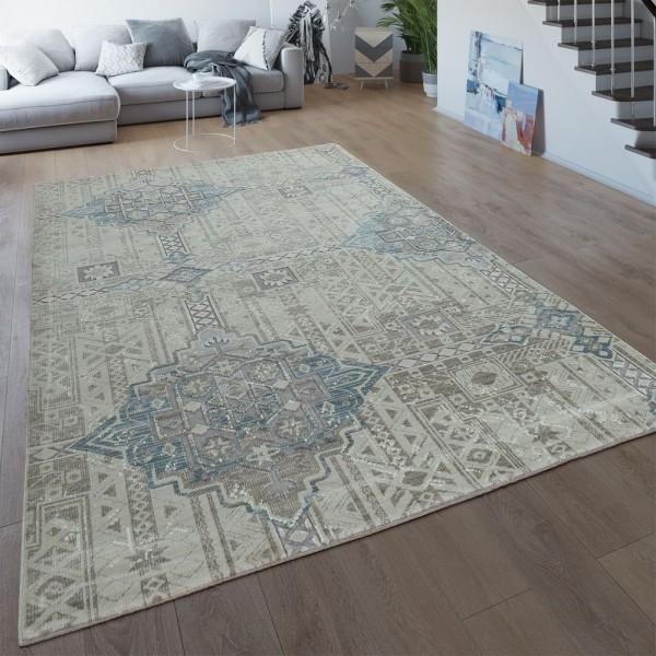 Vintage Teppich Creme Beige Wohnzimmer Kurzflor Ethno Design 3-D Boho Muster