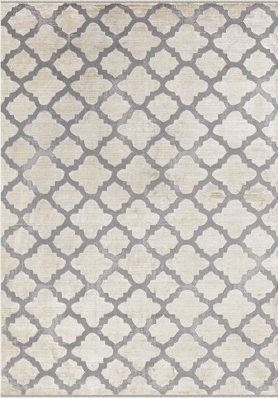 Wohnzimmer-Teppich Mit Marokkanischem Muster Kurzflor Meliert in Grau Und Beige