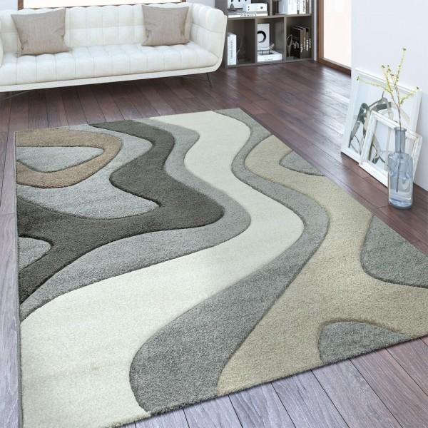 Designer Teppich Wellen Muster Silber Grau