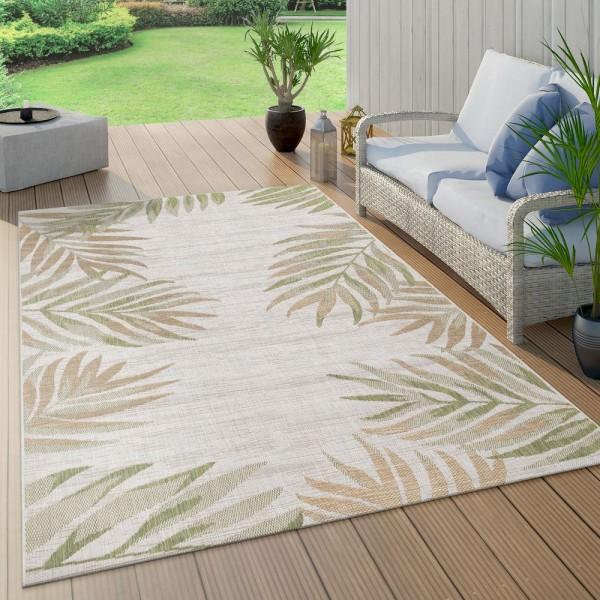 In- & Outdoorteppich Beige Grün Balkon Terrasse Palmen Blätter Muster Robust