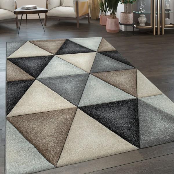 Wohnzimmer Teppich Skandinavischer Stil Rauten Muster Konturenschnitt Grau Beige