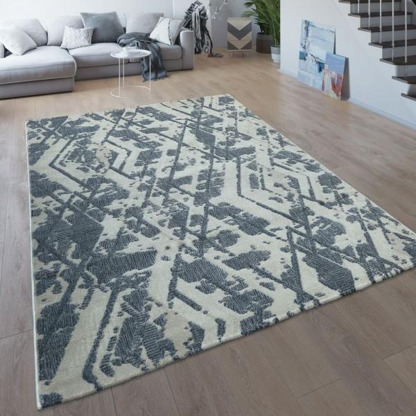Wohnzimmer-Teppich, Kurzflor Mit Modernem Rauten-Muster, Meliert In Grau