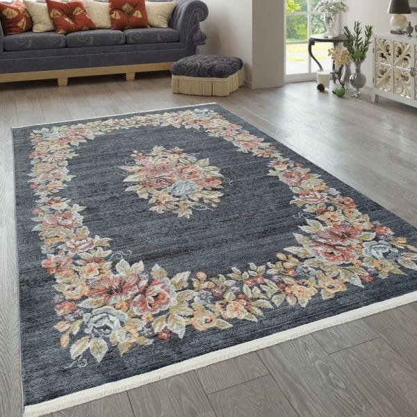 Teppich Wohnzimmer Vintage Muster Orientalisch Floral Ornamente Blau Gelb Rot
