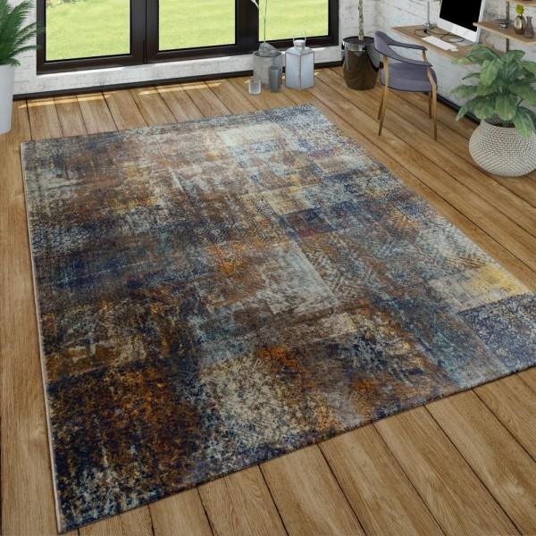 Wohnzimmer-Teppich Im Used Look, Moderner Kurzflor-Teppich In Braun, Blau, Grau