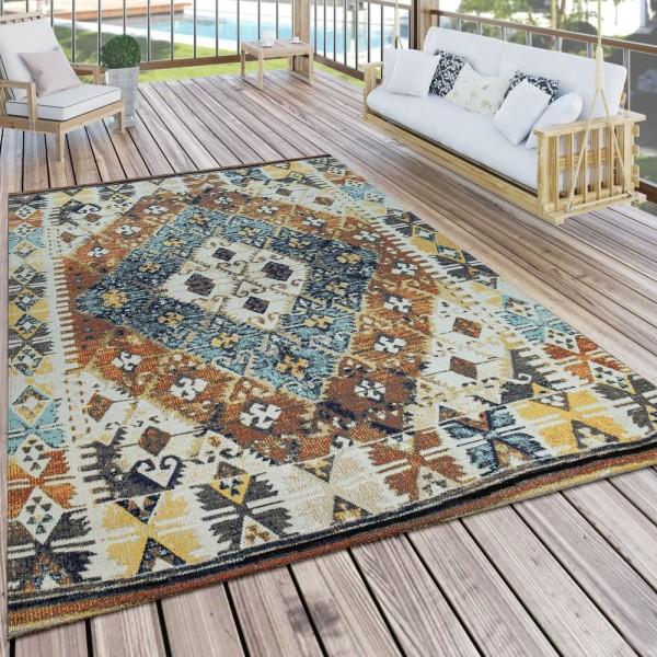 In- & Outdoor-Teppich Für Balkon U. Terrasse M. Orient-Muster, Kariert In Bunt