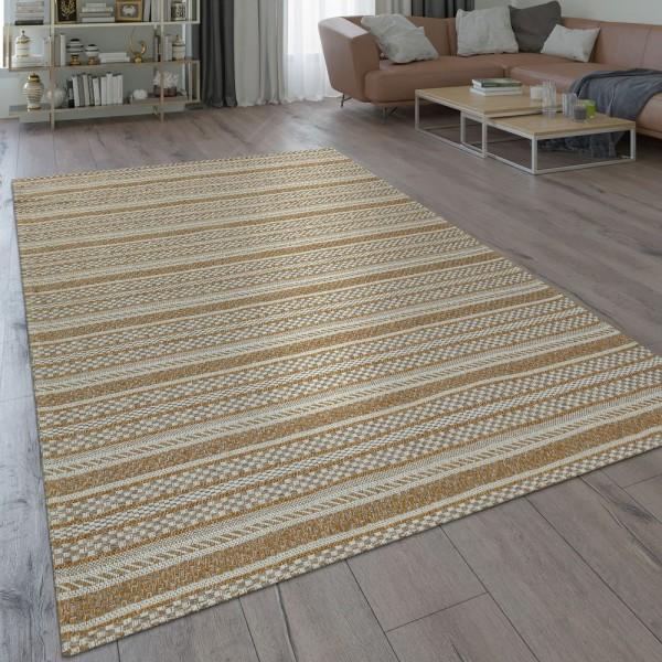 Teppich Beige Küche Wohnzimmer Flur Web Muster Streifen Rustikal Orient Design
