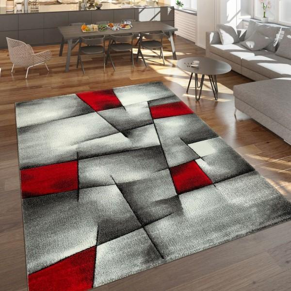 Designer Teppich Mit Konturenschnitt Moderne Abstrakte Muster Grau Rot Meliert