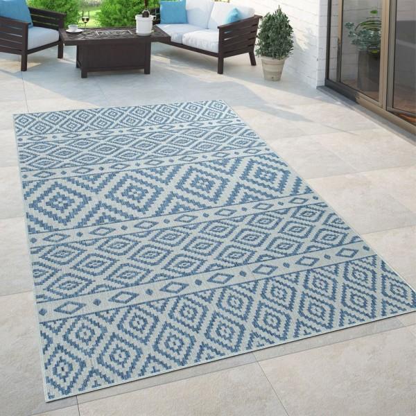 In- & Outdoor-Teppich, Für Balkon Und Terrasse Mit Skandi-Design, In Blau