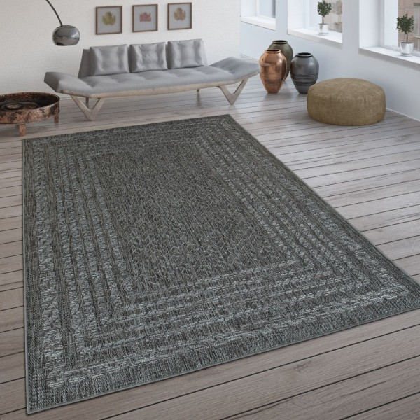 In- & Outdoor-Teppich, Flachgewebe Mit Skandi-Design Und Sisal-Optik In Grau