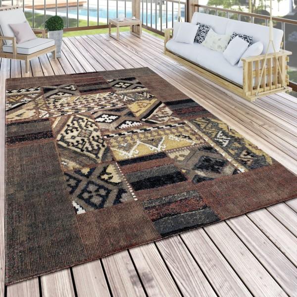 In- & Outdoor Teppich Modern Mustermix Terrassen Teppich Wetterfest Braun
