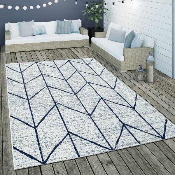 In- & Outdoor Flachgewebe Teppich Geometrisch Skandinavisches Motiv In Weiß