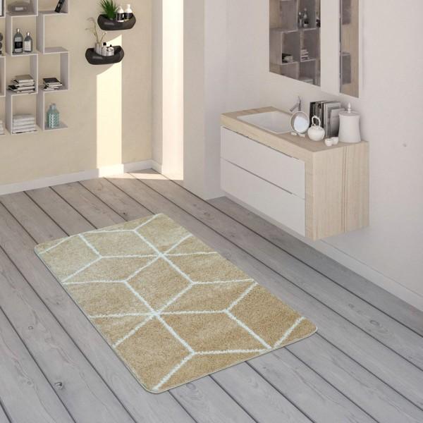 Badematte, Kurzflor-Teppich Für Badezimmer Mit Rauten-Muster In Beige Weiß