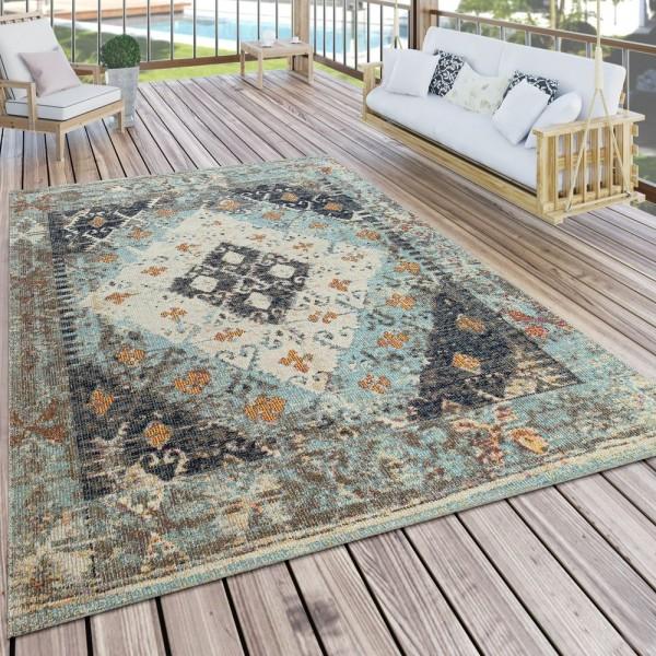 In- & Outdoor-Teppich Für Balkon U. Terrasse M. Orient-Muster, Kariert In Türkis