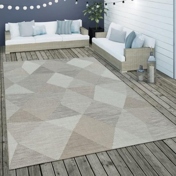 In- & Outdoor Flachgewebe Teppich Geometrisch Muster Rauten Muster In Beige